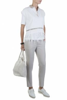 Белый джемпер с короткими рукавами и серебристой отделкой Fabiana Filippi 2658160686