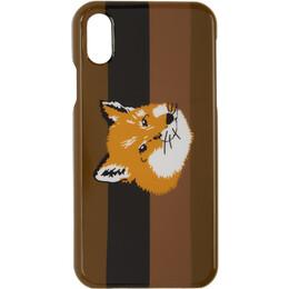 Maison Kitsune Brown Fox Stripes iPhone X Case 192389M15300301GB