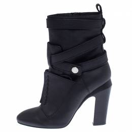 Fendi Black Leather Diana Harness Ankle Boot Size 39 238082