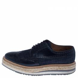 Prada Blue Denim And Brogue Leather Espadrille Derby Sneakers Size 42.5 238087