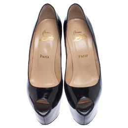 Christian Louboutin Black Patent Leather Daffodile Peep Toe Pumps Size 39.5 237997