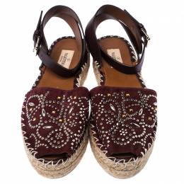 Valentino Burgundy Embellished Suede and Leather Ankle Strap Espadrilles Size 39 236055