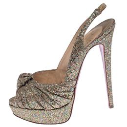 Christian Louboutin Multicolor Glitter Jenny Knotted Slingback Platform Sandals Size 39 238074
