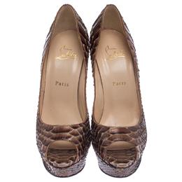 Christian Louboutin Brown Python Lady Peep Toe Platform Pumps Size 39 238072