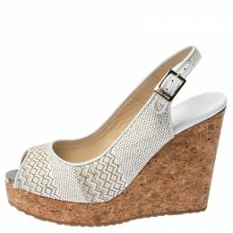 Jimmy Choo White Raffia Pela Slingback Peep Toe Cork Wedges Platform Sandals Size 37 238183