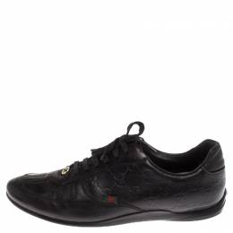 Gucci Black Guccissima Leather GG Lace Low Top Sneakers Size 37.5 238186