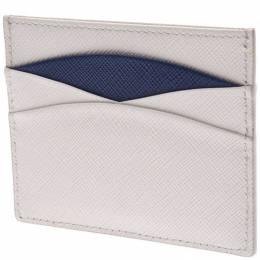 Prada White/Blue Saffiano Leather Card Case 238677