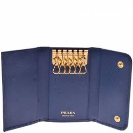 Prada Navy Saffiano Leather 6 Key Case 238673