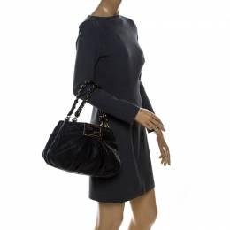 Fendi Black Leather Mia Hobo 238451