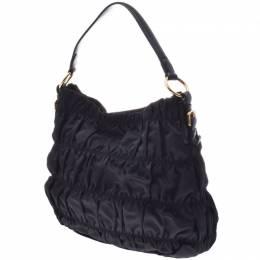 Prada Black Nylon Leather Gathered Shoulder Bag 238669