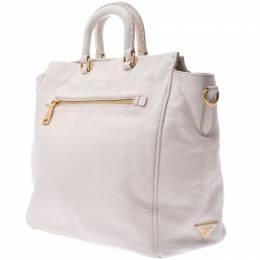 Prada White Leather Tote Bag 238666