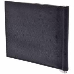 Prada Black Saffiano Leather Clip Folding Wallet 238684
