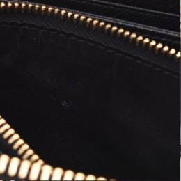 Prada Black Saffiano Leather Round Zipper Wallet 238681