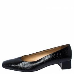 Salvatore Ferragamo Black Crocodile Embossed Leather Block Heel Pumps 235980