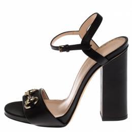 Gucci Black Leather Horsebit Ankle Strap Open Toe Block Heel Sandals Size 36 238055