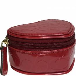 Coach Red Patent Leather Op Art Heart Jewelry Case 238875