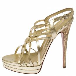 Casadei Gold Leather Strappy Platform Sandals Size 39 236062
