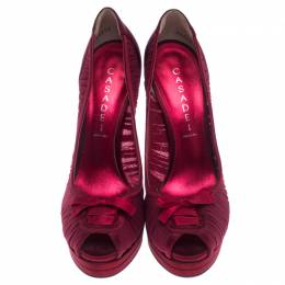 Casadei Red Satin Bow Peep Toe Pumps Size 38.5 238149