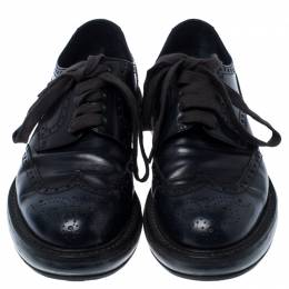 Prada Blue Brogue Leather Lace Up Derby Sneakers Size 42 238145
