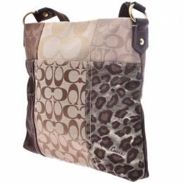Coach Beige/Brown Signature Canvas Patchwork Shoulder Bag 238812