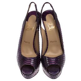 Christian Louboutin Purple/Pink Python Lady Peep Toe Platform Slingback Sandals Size 39 238152