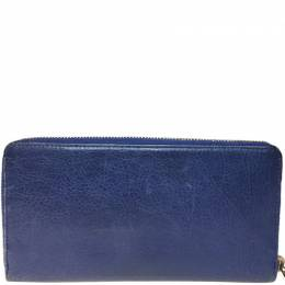 Balenciaga Blue Leather Giant Continental Zip Long Wallet 238801