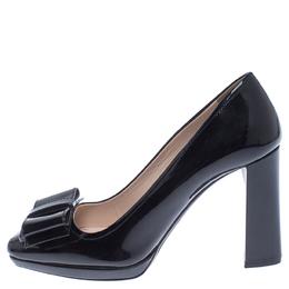 Prada Black Patent Leather Bow Detail Block Heel Pumps Size 36 238573