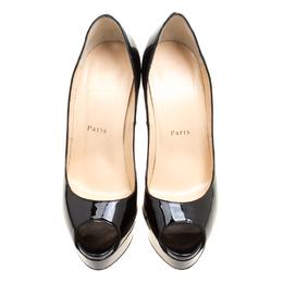Christian Louboutin Black Patent Leather Lady Peep Toe Platform Pumps Size 39 239683