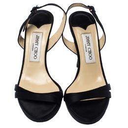 Jimmy Choo Black Satin Ankle Strap Sandals Size 36.5 238165