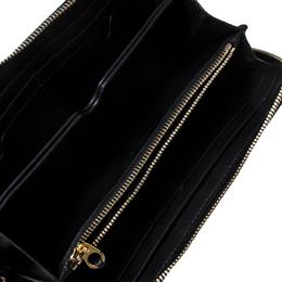 Alexander McQueen Black Leather Eyelet Zip Around Wallet 236625