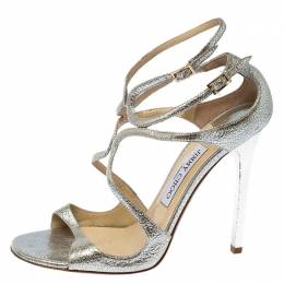 Jimmy Choo Silver Leather Lang Ankle Strap Sandals Size 39 237979