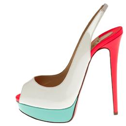 Christian Louboutin Colorblock Patent Leather Lady Peep Toe Platform Slingback Sandals Size 40 238046