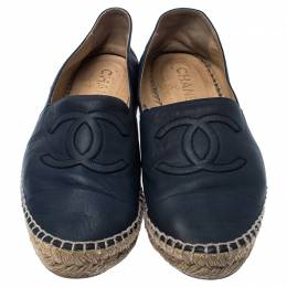 Chanel Navy Blue Leather CC Espadrilles Size 39 235983