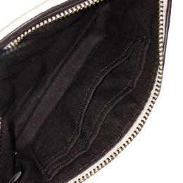 Coach White Leather Motif Zip Pouch 238865