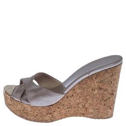 Jimmy Choo Beige Leather Perfume Cork Wedge Platform Sandals Size 38 238284