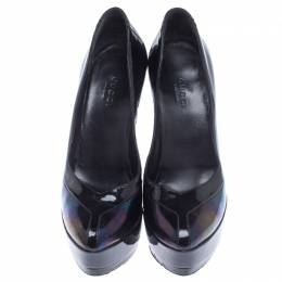 Gucci Black Holographic Leather Pointed toe Platform Pumps Size 34.5 238112