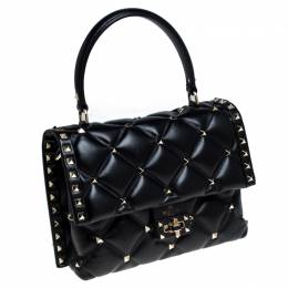 Valentino Black Quilted Leather Medium Candystud Top Handle Bag 238422