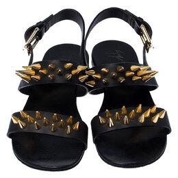Giuseppe Zanotti Design Black Leather Zak Spike Flat Sandals Size 40 237530
