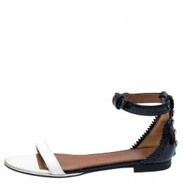 Givenchy Monochrome Patent Leather Ankle Strap Sandals Size 38 235334