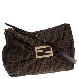 Fendi Tobacco Zucca Canvas Zip Shoulder Bag 234509