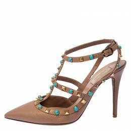 Valentino Beige Leather Studded Ankle Strap Sandals Size 39 235134
