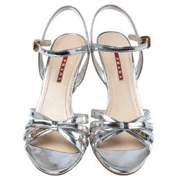 Prada Silver Patent Leather Donna Bow Cork Wedge Sandals Size 39 Prada Sport 232557
