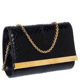 Fendi Black Python Leather Mini Rush Evening Clutch 234813