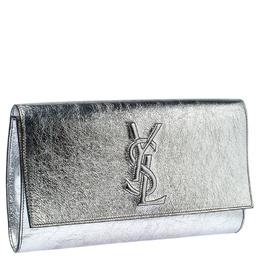 Saint Laurent Paris Silver Leather Belle De Jour Flap Clutch 234727
