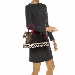 Furla Black/Fuchsia Rubber and Leather Leopard Detailed Candy Satchel 234852
