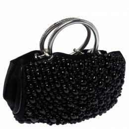 Chloe Black Beaded Satin Crystal Embellished Ring Handle Clutch 234668