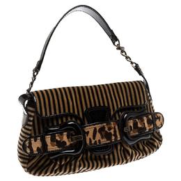 Fendi Brown/Black Striped Velvet and Calfhair B Bis Shoulder Bag 234449