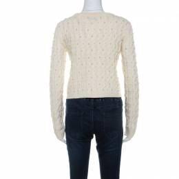 Alice + Olivia Off White Wool Pearl Embellished Sweater S 238713