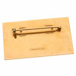 Chanel Gold Tone Enamel Employee Tag Pin Brooch 238101