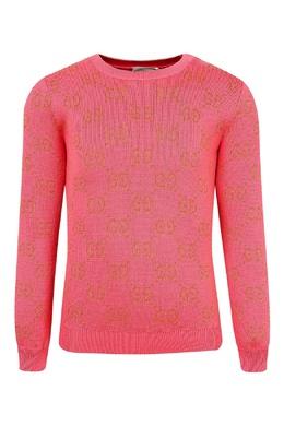 Розовый свитер с золотистым узором Gucci Kids 1256161971